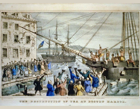 The Destruction of Tea at Boston Harbor, lithograph depicting the 1773 Boston Tea Party. Photographic reproduction by Nathaniel Currier