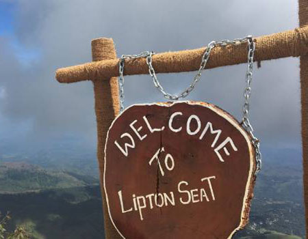 The only thing at the summit of Lipton's Seat is this wooden sign, and an old bronze statue of Sir Thomas Lipton