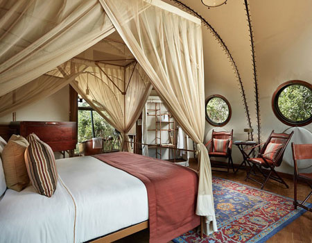 Inside one of the yurt-like suites at Wild Coast Tented Lodge