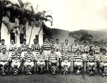 Vivian (Captain) and the Uva Rugby Team (in the club grounds)