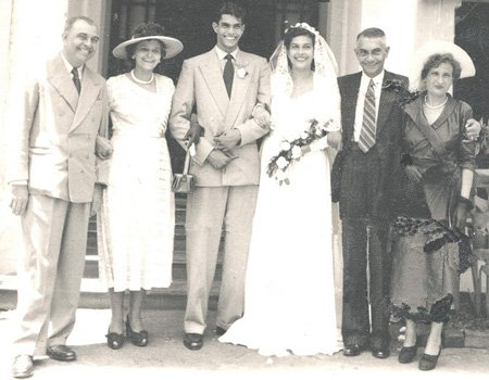 Vivian, Charmaine and their parents on their wedding day - Colombo, Ceylon.
