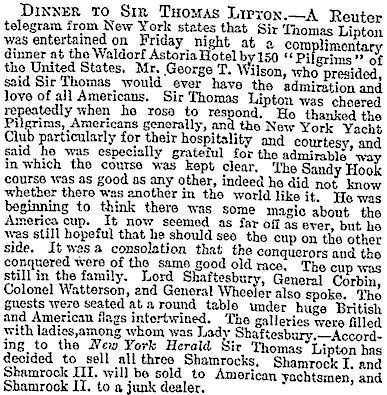 10.Dinner to Sir Thomas Lipton at the Waldorf Astoria Hotel