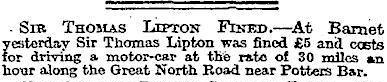 11.Sir Thomas Lipton Fined