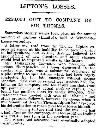 12.Lipton's Losses - £250,000 Gift to Company by Sir Thomas