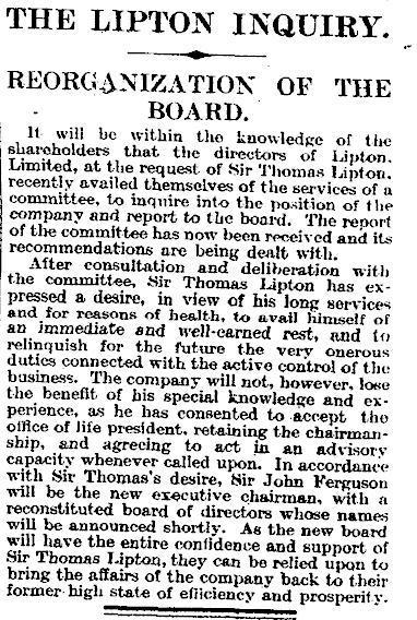 14.The Lipton Inquiry - Reorganization of the Board