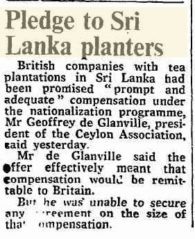 19.Pledge to Sri Lankan Planters - Compensation to British companies under the nationalization programme