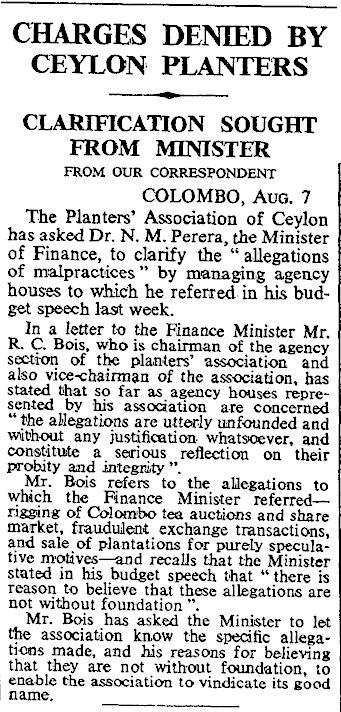 20.Charges Denied By Ceylon Planters - Clarification sought from Minister N.M. Perera
