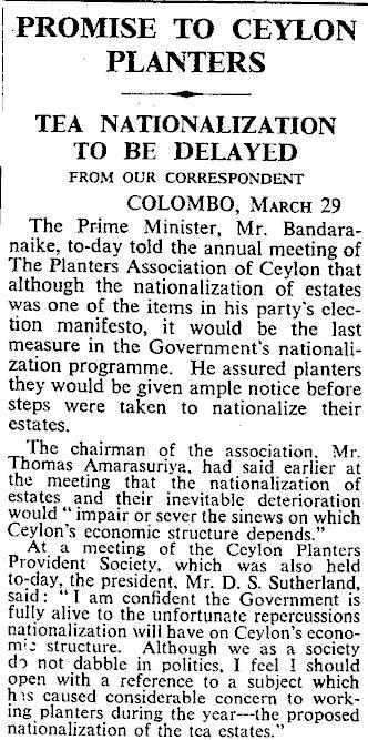 22.Promise to Ceylon Planters Tea Nationalization To Be Delayed