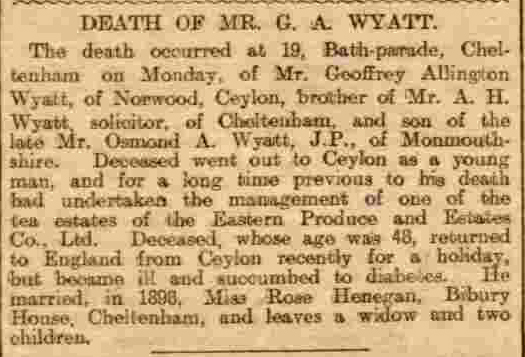 37.Death of Mr. GA Wyatt of Norwood, Ceylon