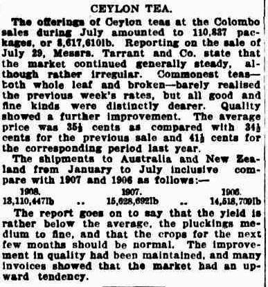 45.Ceylon Tea - Auction sales in Colombo during July