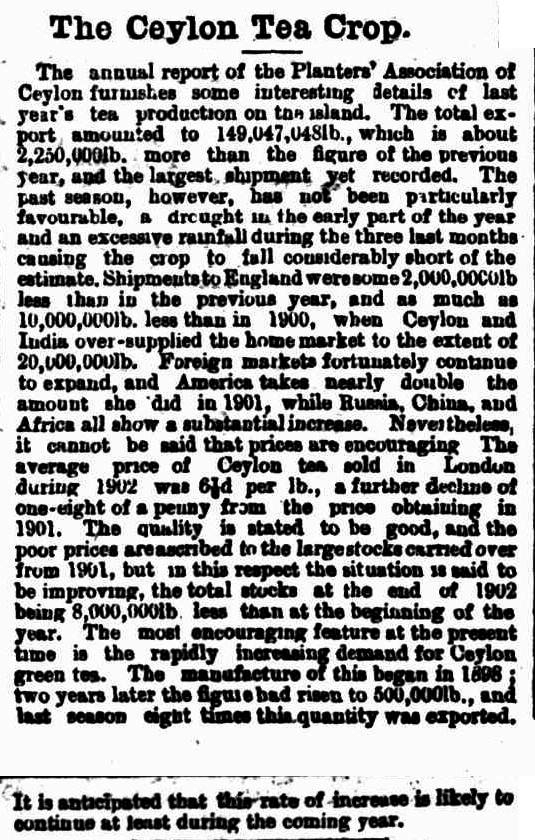 46.The Ceylon Tea Crop - Annual Report of the Planters Association