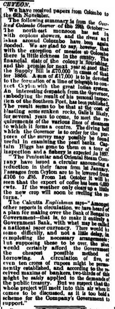 50.Ceylon (from papers received from Colombo to 6th November)