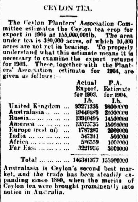 52.Ceylon Tea - PA crop estimates for export in 1904