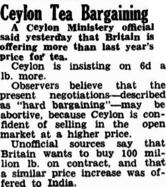 61.Ceylon Tea Bargaining - Britain offering higher price for tea