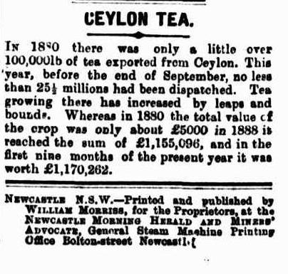 66.Ceylon Tea - 25.5 million lb dispatched