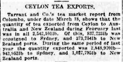67.Ceylon Tea Exports - Tarrant & Co market report