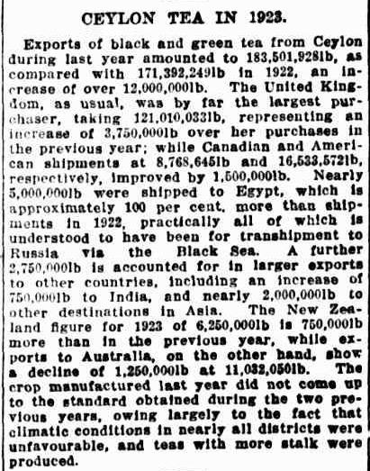 69.Ceylon Tea in 1923 - Excports of black & green tea from Ceylon