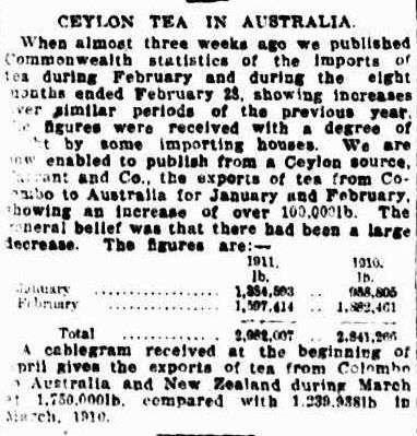 70.Ceylon Tea in Australia - February 1911