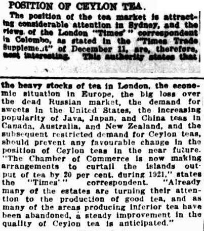 72.Position of Ceylon Tea attracting attention in Sydney