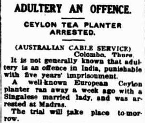 73.Ceylon Tea Planter arrested for adultery