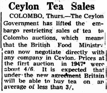 78.Ceylon Tea Sales - Government lifted embargo