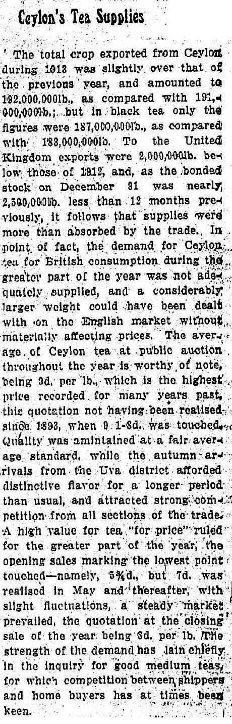 80.Ceylon's Tea Supplies - total crop exported in 1913