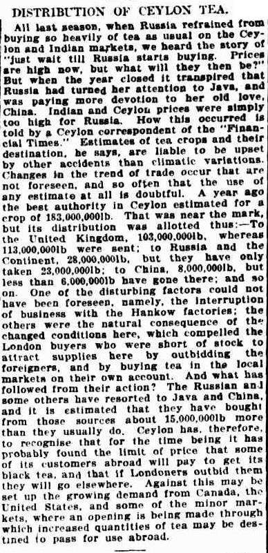 82.Distribution of Ceylon Tea - Russia refrained from buying