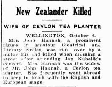 84.New Zealander Killed - Wife of Ceylon Tea Planter