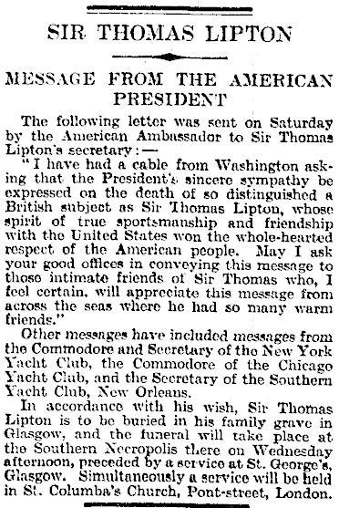 09.Sir Thomas Lipton - Message from the American President