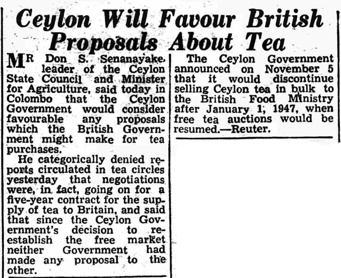 88. Ceylon Will Favour British Proposals About Tea
