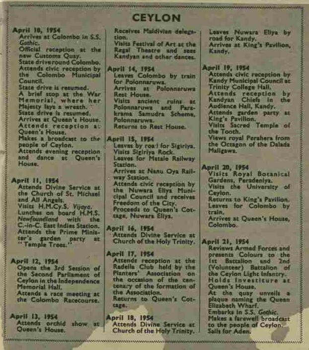 91.Ceylon (Queens Tour Itinereray)