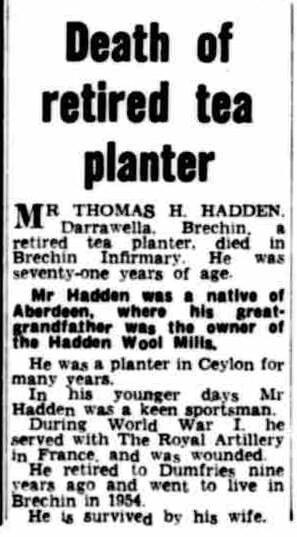 96. Death of Retired Tea Planter Thomas Hadden