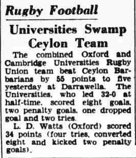 98. Universities Swamp Ceylon Team