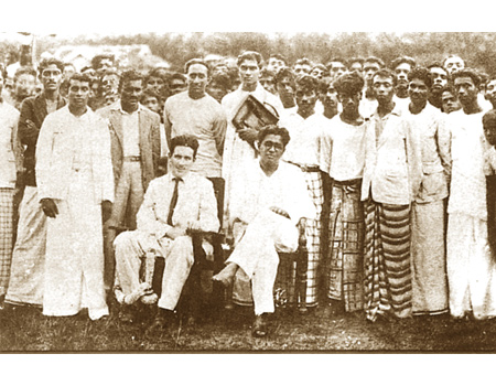 Bracegirdle with LSSP leaders at Horana– Colvin r de Silva seated and Philip Gunawardena, Wilmot Perera and Leslie Goonewardena among those standing behind.